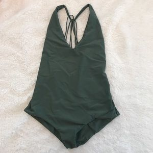 Olive army green one piece with metal ring accents